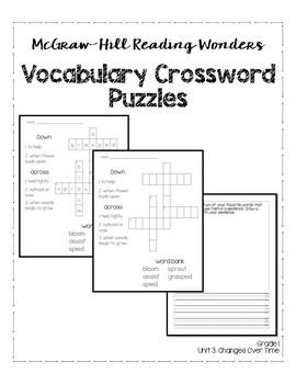 McGraw-Hill Reading Wonders Grade 1 Unit 3 Vocabulary Crossword Puzzles