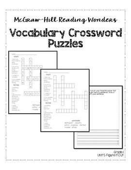 McGraw-Hill Reading Wonders Grade 1 Unit 5 Vocabulary Crossword Puzzles