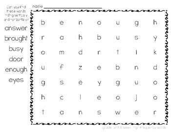 McGraw-Hill Reading Wonders Grade 1 Unit 6 Word Search Puzzles