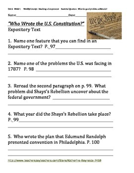 McGraw Hill Reading Wonders Grade 5 Unit 2 Week 1 Social Studies Work Sheet