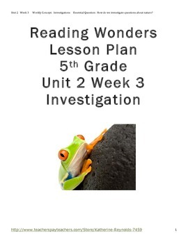 McGraw Hill Reading Wonders Grade 5 Unit 2 Week 3 Lesson Plan, Centers and WS