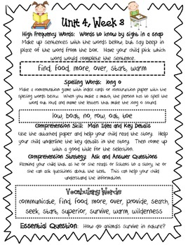 McGraw Hill Reading Wonders:  Home/School Connection Letters