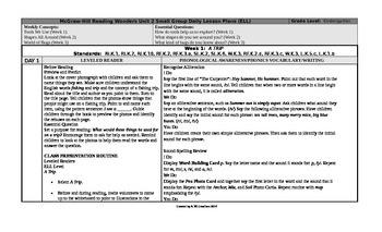 Reading Wonders Kindergarten UNIT 2 ELL Small Group Plans