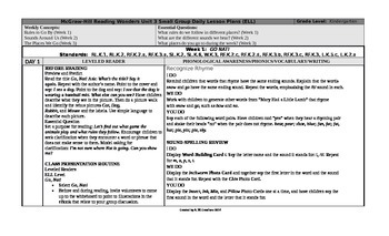 Reading Wonders Kindergarten UNIT 3 ELL Small Group Plans