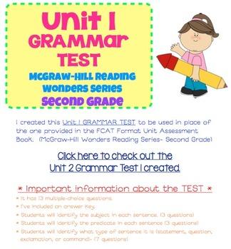 McGraw-Hill Reading Wonders Series- Grade 2- Unit 1 Grammar Test