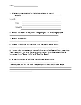 """McGraw Hill Reading Wonders """"Stage Fright"""" Study Guide"""