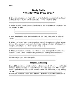 "McGraw Hill Reading Wonders ""The Boy Who Drew Birds"" Study Guide"