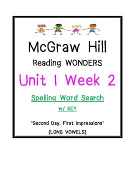 McGraw Hill Reading Wonders U 1 Wk 2 SPELLING WORD SEARCH