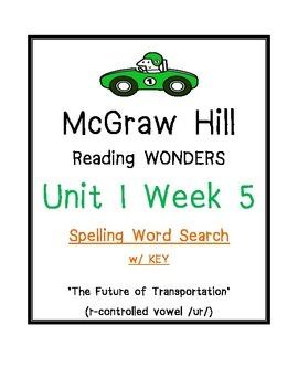 McGraw Hill Reading Wonders U 1 Wk 5 SPELLING WORD SEARCH Future Transportation