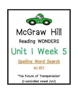 McGraw Hill Reading Wonders U 1 Wk 5 SPELLING WORD SEARCH