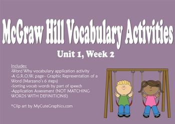 McGraw Hill Reading Wonders Unit 1, Week 2 Vocabulary pack
