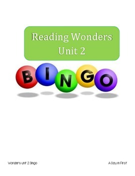 McGraw Hill Reading Wonders Unit 2 Bingo