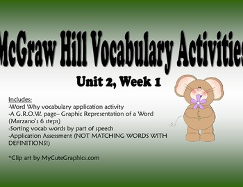 McGraw Hill Reading Wonders Unit 2, Week 1 Vocabulary Pack