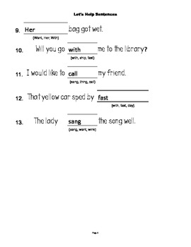 McGraw Hill Reading Wonders © 1st Grade Unit 2 Week 4 Sentences