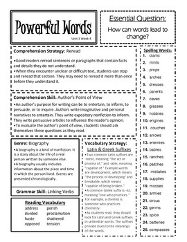 McGraw Hill Reading Wonders Unit 3 Focus Sheets