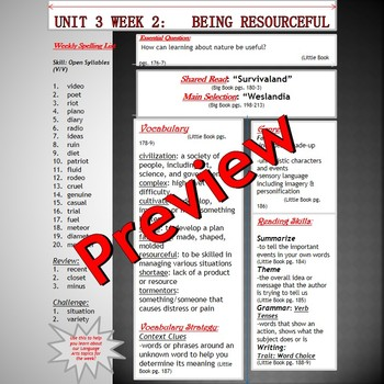 Unit 3 Week 2 Skills Guide Fifth Grade based on McGraw Hill Reading Wonders
