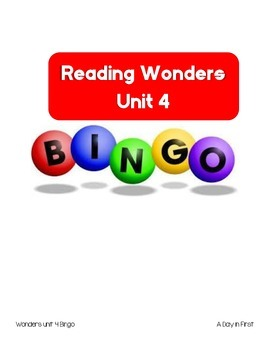McGraw Hill Reading Wonders Unit 4 Bingo