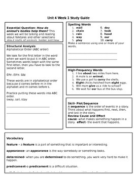 McGraw Hill Reading Wonders Unit 4 Study Guides