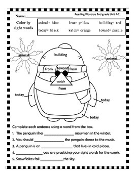 McGraw Hill Reading Wonders Unit 4 second grade color by sight words packet