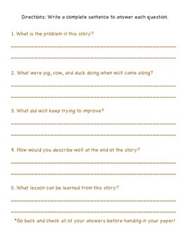 3rd Grade McGraw-Hill Reading Wonders Vocab & Story Quiz for Wolf!