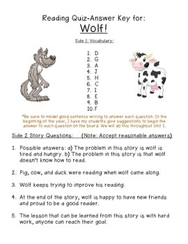 Grade McGraw-Hill Reading Wonders Vocab & Story Quiz for Wolf!