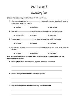 McGraw-Hill Reading Wonders Vocabulary Quizzes - Grade 5