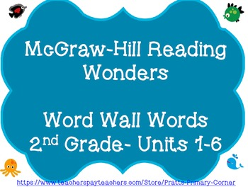 McGraw-Hill Reading Wonders Word Wall Words Grade 2 Units 1-6- Ocean Theme