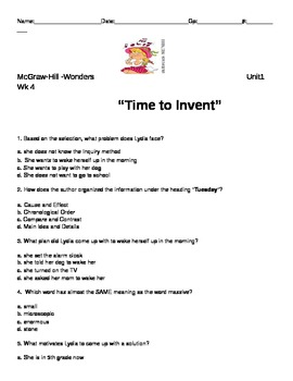 """McGraw-Hill """"Time to Invent"""" Wonders Reading Series"""