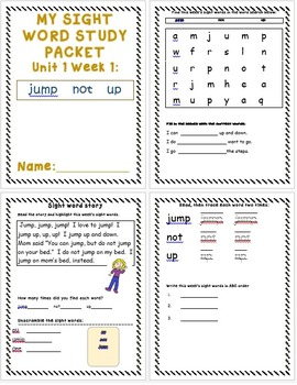First Grade-Unit 1 and 2 Sight Word Study Packets/McGraw Hill Treasures