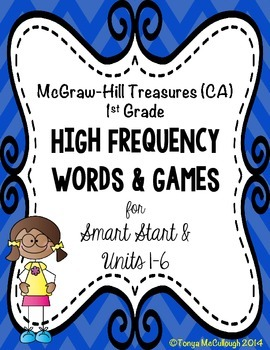 McGraw Hill Treasures (CA) High Frequency Words Flashcards and Games