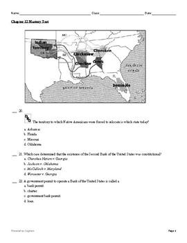 "McGraw Hill US History Chapter 12 Test ""The Jackson Era"""