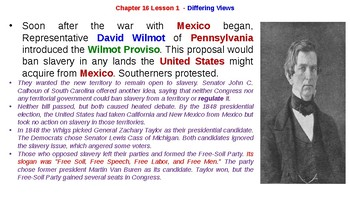 """McGraw Hill US History Chapter 16 Powerpoint """"Toward Civil War"""""""