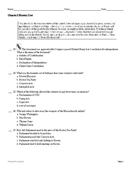 "McGraw Hill US History Chapter 5 Test ""The Spirit of Independence"""