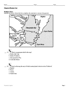"""McGraw Hill US History Chapter 6 Test """"The American Revolution"""""""