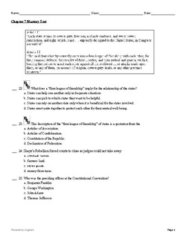 """McGraw Hill US History Chapter 7 Test """"A More Perfect Union"""""""