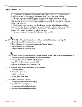 "McGraw Hill US History Chapter 9 Test ""The Federalist Era"""