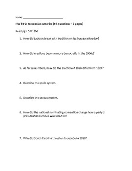 McGraw Hill US History & Geography 4th Unit HW Jackson to Civil War