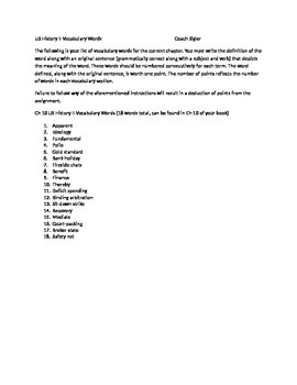 McGraw Hill US History and Geography Ch 10 Great Depression Vocabulary Sheet