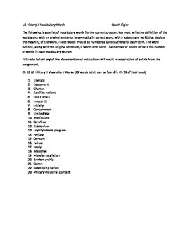 McGraw Hill US History and Geography Ch 13 Cold War Vocabulary Sheet