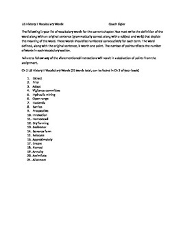 McGraw Hill US History and Geography Ch 2 Settling the West Vocabulary Sheet