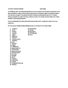 McGraw Hill US History and Geography Ch 4 Immigration Vocabulary Sheet