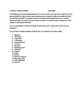 McGraw Hill US History and Geography Ch 5 Becoming World Power Vocabulary Sheet