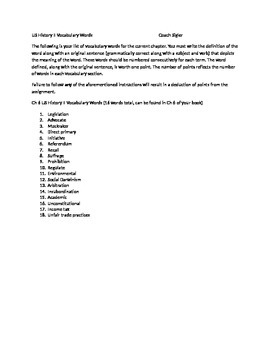 McGraw Hill US History and Geography Ch 6 Progressive Movement Vocabulary Sheet