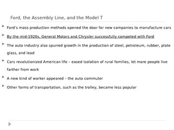 McGraw Hill US History and Geography Ch 8 Lesson 2 A Growing Economy Roaring 20s