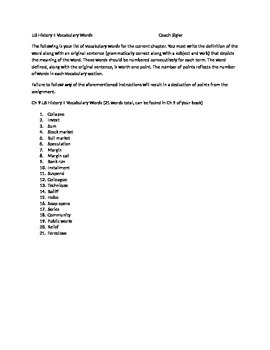 McGraw Hill US History and Geography Ch 9 Great Depression Vocabulary Sheet