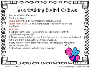 McGraw Hill Wonders Vocabulary Games Grade 5 Unit 1
