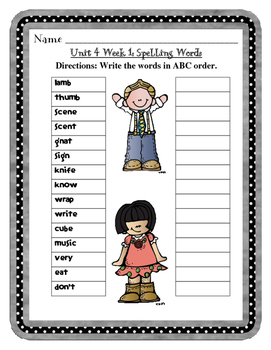 McGraw-Hill WONDERS Grade 2 Unit 4 Spelling Review