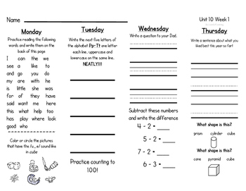 McGraw-Hill WONDERS Homework Packet Unit 10