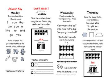 WONDERS Kindergarten Homework Packet Unit 4