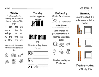WONDERS Kindergarten Homework Packet Unit 6